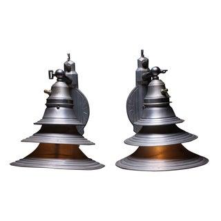 Industrial Art Deco Metal Sconces - A Pair