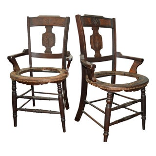 19th-C. Wood Armchairs - A Pair