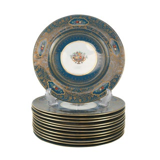 Set of 12 George Jones Crescent China Enamel & Gilt Jeweled Dinner Plates, Circa 1900