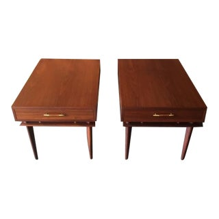Mid Century Refinished Walnut Pair of Side Table Nightstands by Kalpe
