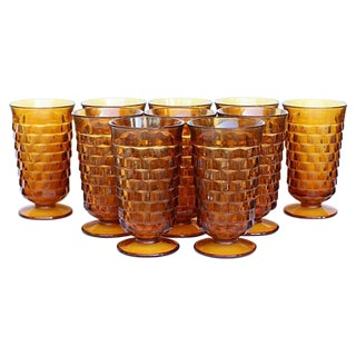 Amber Indiana Pedestal Glasses - Set of 10
