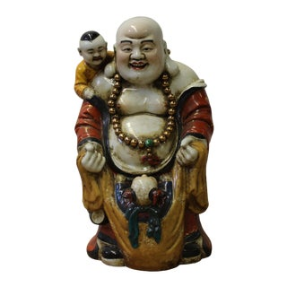 Chinese Porcelain Color Happy Buddha w Kids Statue