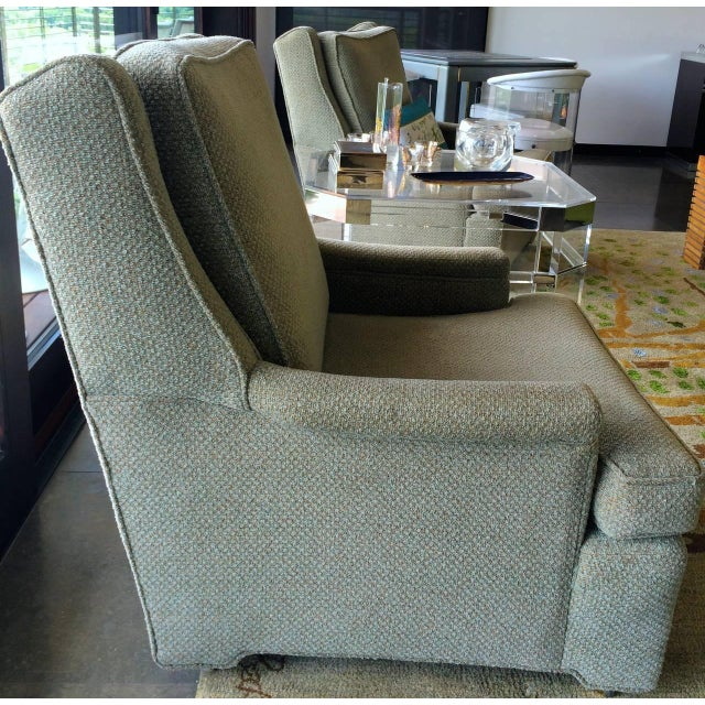 Image of Pair of Tall Back Lounge Chairs in the Manner of Dunbar