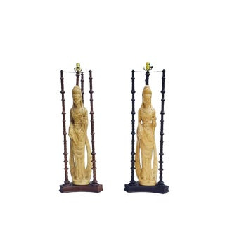 "Iconic Mid Century Chinoiserie Lamps Guan Yin Goddess Lamp Tony Duquette Style 38"" - A PAIR"