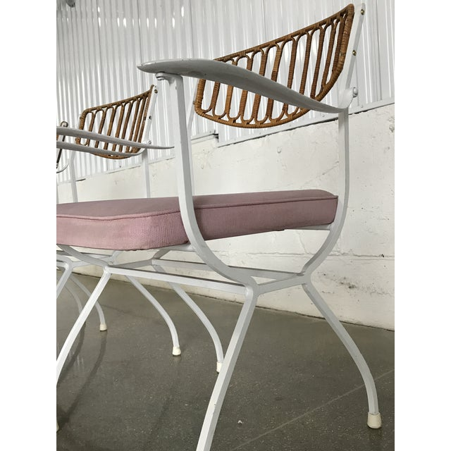 Mid-Century Modern Wrought Iron & Rattan Patio Dining Chairs - Set of 5 - Image 9 of 11