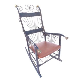 Folk Art Wrought Iron Rocking Chair