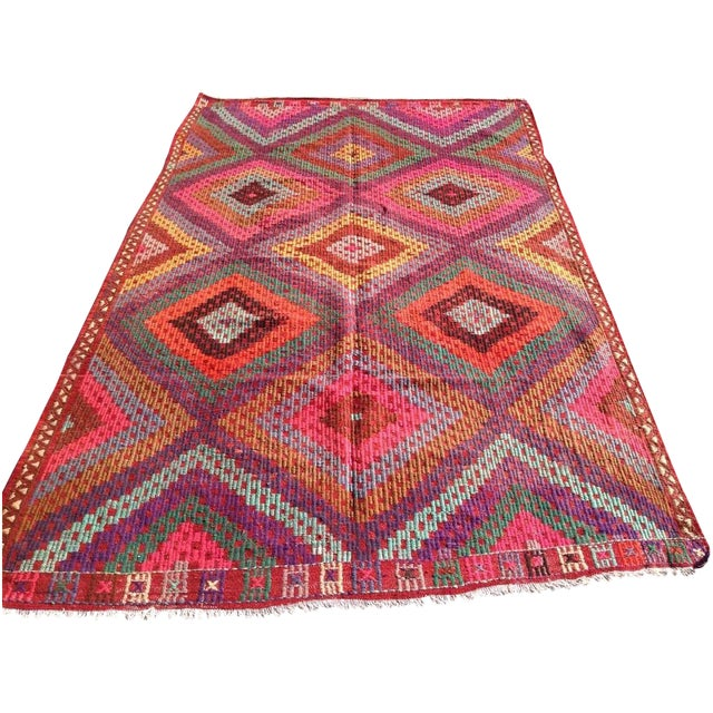 Vintage Turkish Kilim Rug - 5′11″ × 9′8″ - Image 1 of 8