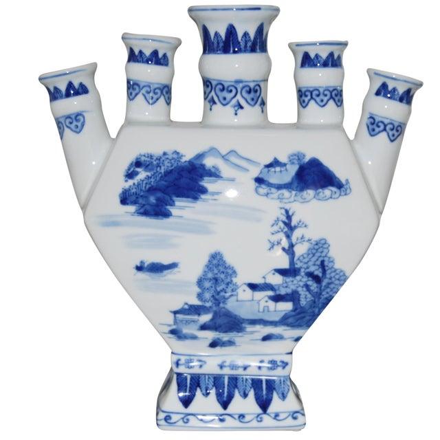 Chinoiserie Blue & White Porcelain Vase - Image 1 of 3