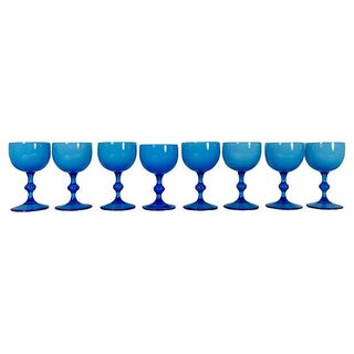 Blue Cordial Glasses - Set of 8