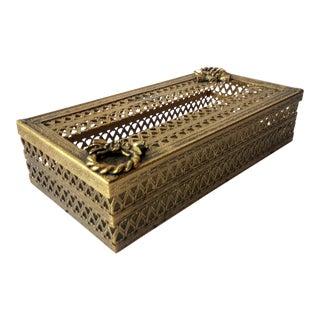 Regency Glam Ormolu Gold Filigree Tissue Box