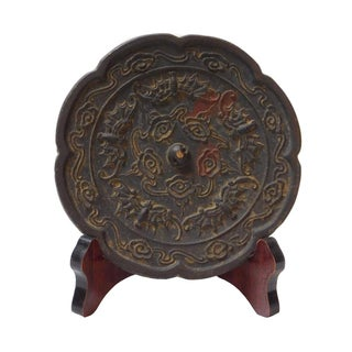 Chinese Round Iron Bats Relief Plaque