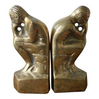 Brass Thinker Bookends - A Pair