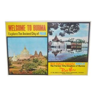 Vintage BURMA Travel Poster c.1960