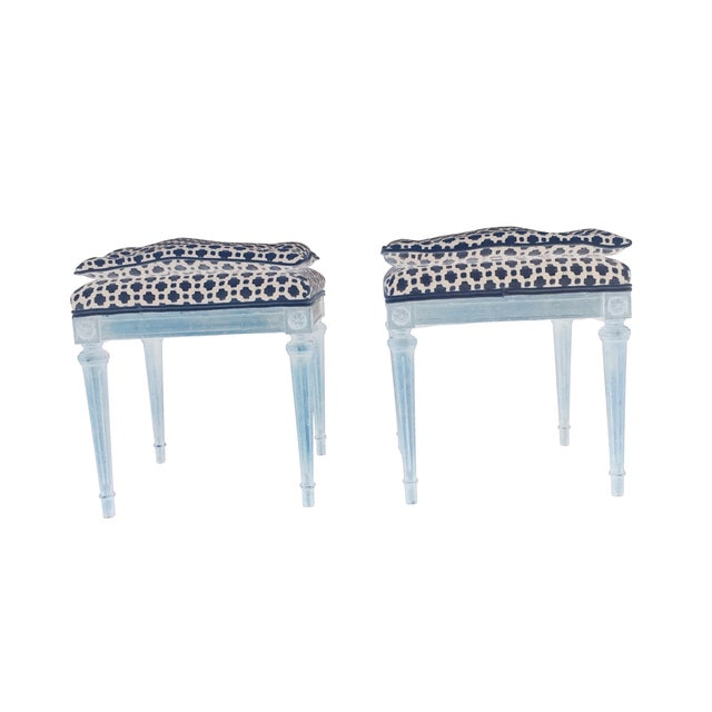 Image of Wood Stools with French Tufted Upholstery - Pair