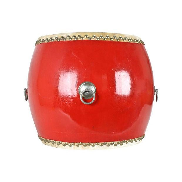 Image of Red Asian Drum Side Table