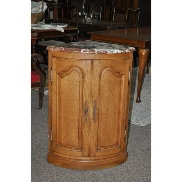 Image of French Oak Marble Top Corner Cabinet