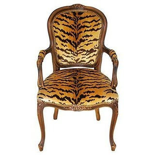Carved Walnut Armchair in Scalamandre Le Tigre