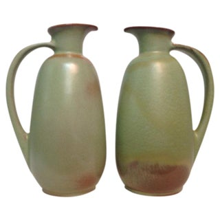 Frankoma Pottery Prairie Green Pitchers - A Pair