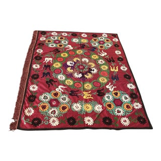Vintage Red Suzani Tapestry