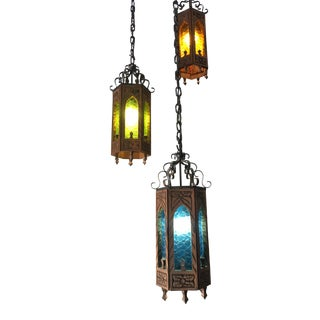 Vintage Gothic Medieval Cast Iron Swag Hanging Chandelier