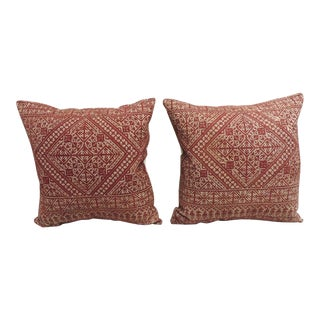 Pair of Antique Red Embroidery Moroccan Fez Embroidery Decorative Pillows