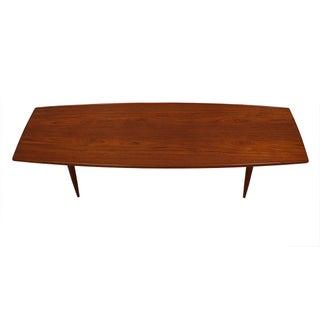 Long Danish Modern Teak Surfboard Coffee Table