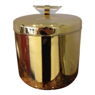 Outstanding Brass and Lucite Ice Bucket