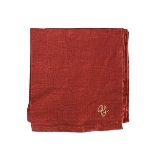 Monogram 'H' Red Linen Napkins - Set of 4