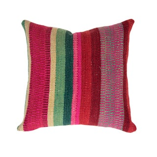 Red Striped Handwoven Peruvian Pillow