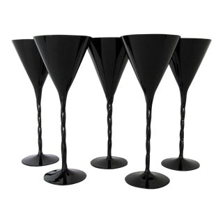 Black Glass Stemware - Set of 5