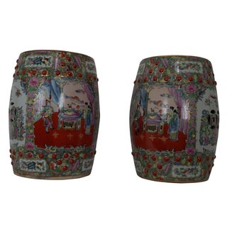 Chinese Famille Porcelain Garden Seats - A Pair