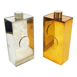 Mid-Century Modern Chrome and Brass Flask - Set of 2