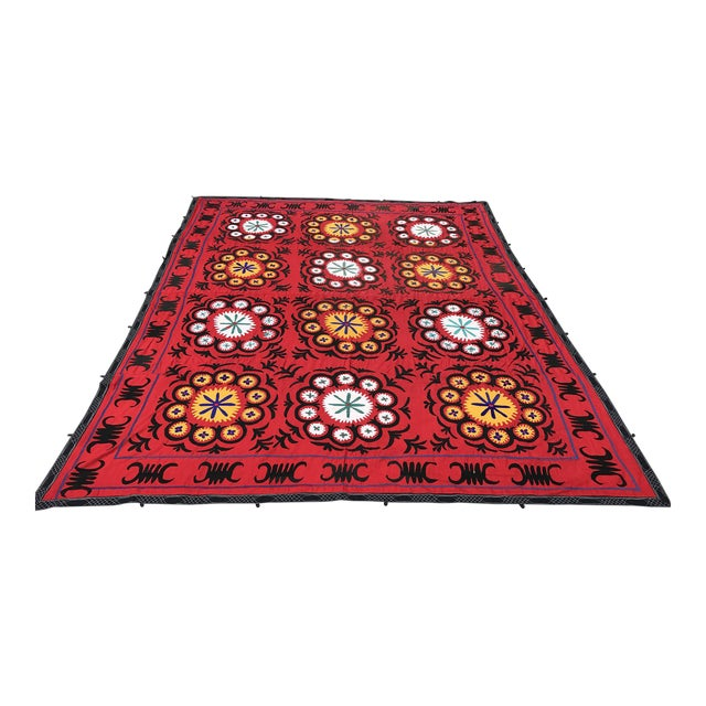 Handmade Red Suzani Textile - Image 1 of 6