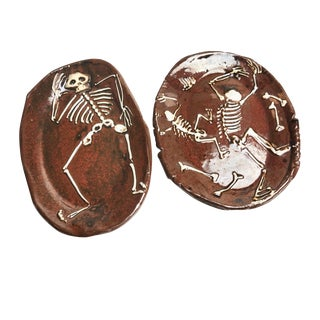 Vintage Skeleton Ceramic Plates - A Pair