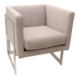 Milo Baughman, Flat Bar Cube Chair, Chrome with Gray Fabric