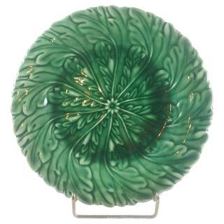 Art Nouveau Green Majolica Plate