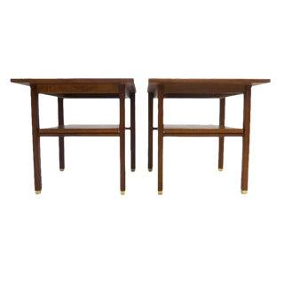 Pair of Ed Wormley Dunbar Streamlined Walnut End Tables w Shelf and Brass Feet