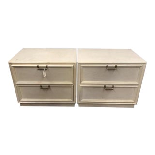 White Vintage Drexel Nightstands - A Pair