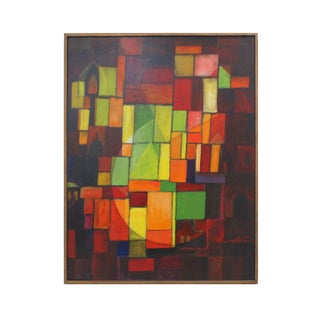 70's Abstract Cubism Oil Painting