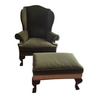 Ethan Allen Giles Custom Wing Chair & Ottoman