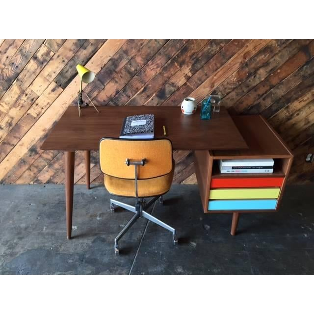 Mid-Century-Style Color Block Desk - Image 5 of 5