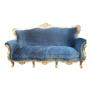 Louis XVI Gold Leafed Blue Sofa