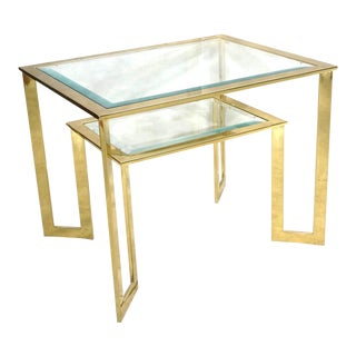 Modernist 2-Tier Glass Side Table