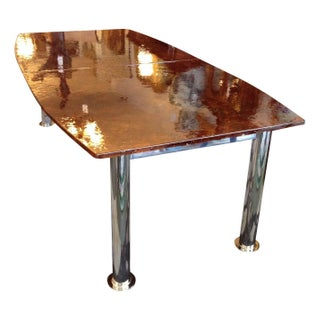 Custom Designed Amber Glass Dining Table