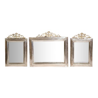 19th Century French Brass and Copper Silvered Mirrors - Set of 3
