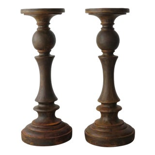 Rust Painted Candle Holders - Pair