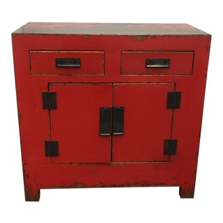 Rustic Red Laquer Cabinet