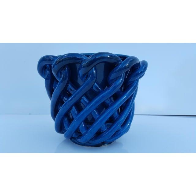 Vintage Blue Turquoise Decorative Planter Pot. - Image 3 of 8
