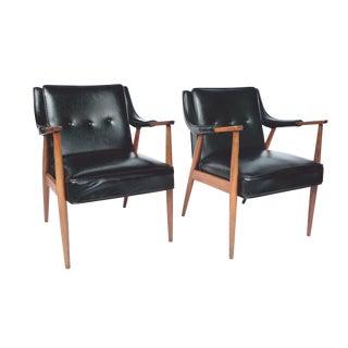 Adrian Pearsall Style Black Vinyl Armchairs - A Pair