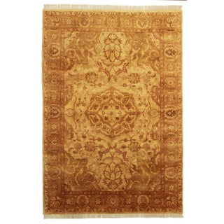 Hand Knotted Wool Indian Rug - 6' x 8'8""